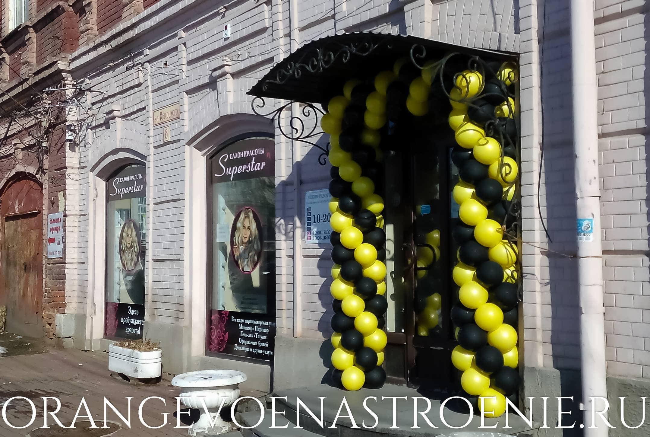 арка из воздушных шаров на открытие салонв красоты. чёрно-желтые.